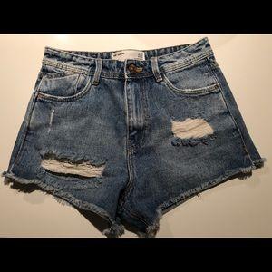 Zara Medium Denim High Waisted Shorts